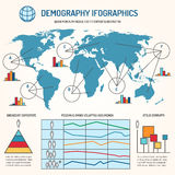 Demographic infographics vector template. Demographic infographics. Human line vector infographics template Stock Photos