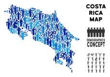 Demographics Costa Rica Map stock de ilustración