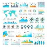 Demographics del negocio y elementos infographic de las estadísticas con las cartas, los diagramas y el sistema coloridos del vec libre illustration