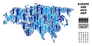 Demographics Europa y mapa de Asia stock de ilustración