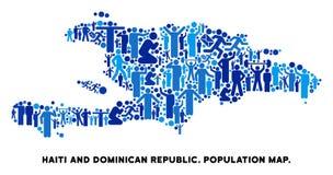 Demographics Haití y mapa de la República Dominicana stock de ilustración