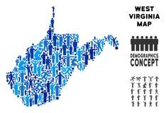 Demographics Virginia State Map del oeste stock de ilustración