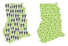 Demographics y mapa floral de Ghana ilustración del vector