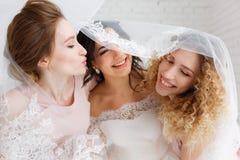 Demoiselles d'honneur et belle jeune mariée couvertes par le voile se tenant dans l'intérieur de chambre de grenier Portrait en g Photo stock