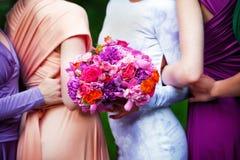 Demoiselles d'honneur sur le mariage Photographie stock