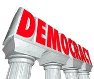 Demokraci słowa 3d listów kolumn wolność Wybiera rzędu royalty ilustracja