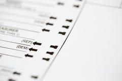 Demokrata lub Republikański wybór na Głosować tajne głosowanie Zdjęcia Royalty Free