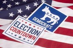 Demokrata wybory głosowania flaga amerykańska i odliczanie Obraz Royalty Free