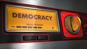 Demokrati på skärm av den röda varuautomaten royaltyfri bild