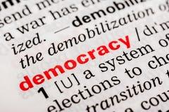 Demokratie-Wort-Definition Lizenzfreie Stockbilder