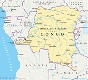 Demokratische Republik-politische Karte des Kongos stock abbildung