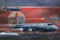 Demokratiska Folkrepubliken Korea Nordkorea flygvapen som bombarderar slagbegrepp Norr Demokratiska Folkrepubliken Korea Arkivfoton
