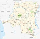 Demokratyczna republika Congo drogowa wektorowa mapa Kopa Zdjęcia Stock