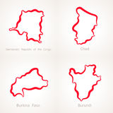Demokratyczna republika Kongo, Czad, Burkina Faso i Burundi, - kontur mapa ilustracji