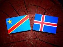 Demokratyczna republika Kongo flaga z Islandzką flaga na t obrazy stock