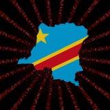 Demokratycznej republiki Kongo mapy flaga na czerwonej hex kodu wybuchu ilustraci Zdjęcie Stock