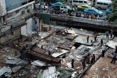 Demolera järnbromarknaden i Bangkok, Thailand På 28 Octob Arkivfoton