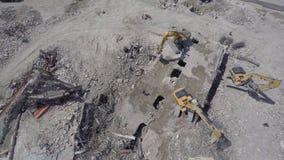 Demolição aérea 6 da construção vídeos de arquivo