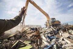 Demolição da vila de Batang em Jakarta norte Imagem de Stock Royalty Free