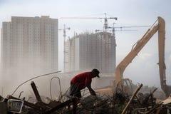 Demolição da vila de Batang em Jakarta norte Fotos de Stock Royalty Free