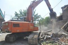 A demolição das casas na terra possuiu a pinta KAI em Semarang Fotografia de Stock