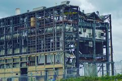 A demolição do central energética o ijsselcentrale fotos de stock