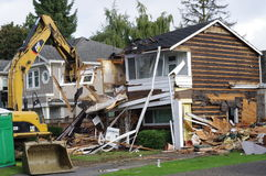 Demolição norte-americana da casa fotografia de stock