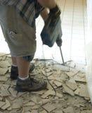 Demolición 1 del suelo de la baldosa cerámica foto de archivo