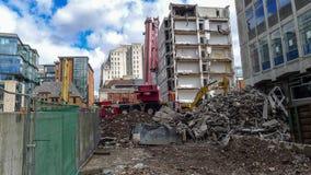 Demolición de los edificios de la ciudad, Manchester, Reino Unido fotos de archivo