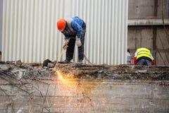 Demolición del edificio de 25 pisos Imagen de archivo libre de regalías