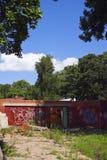 Demoliertes Gebäude am sonnigen Tag Stockbilder