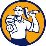 Demolierungs-Arbeitskraft-Hammer, der den Kreis Retro- zeigt Stockfoto