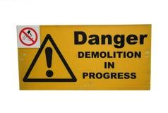 Demolierungsite-Zeichen Stockbild