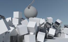 Demoliscalo palla che passa tramite la parete delle scatole Fotografia Stock