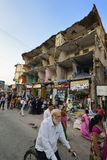 Demolished Building. View of a busy street near demolished building in kalyan ,Thane,India Stock Photos