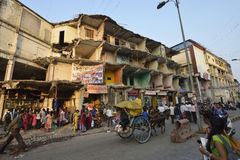 Demolished Building. View of a busy street near demolished building in kalyan ,Thane,India royalty free stock image