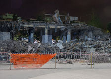 Demolished buildings at night Royalty Free Stock Photos