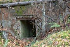 Demolished bunker in Central Europe. Old reinforced concrete for stock image
