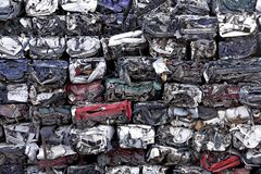 Compressed car wrecks in scrapyard Tenerife Spain royalty free stock image