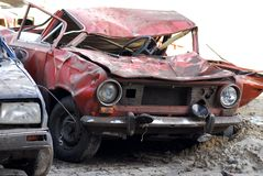 Demolished cars in junkyard Stock Images