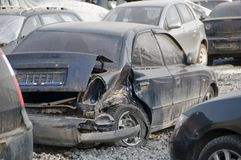 Demolished cars in junkyard Royalty Free Stock Image