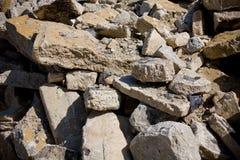 Demolished concrete building. Detailed shot of a demolished concrete building Royalty Free Stock Photo