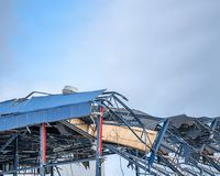 Demolished construction of a building stock images
