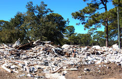 Demolished Home. Home that has been plowed down and demolished Stock Photo