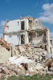 Demolished House. Against the blue sky Royalty Free Stock Photography