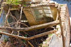 Demolished house. Demolished old house ruins closeup Royalty Free Stock Images