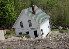 Demolished house. Hurricane Irene aftermath with damaged white house stock photos