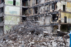Demolished house. Before reconstruction or after bomb explosion Stock Images