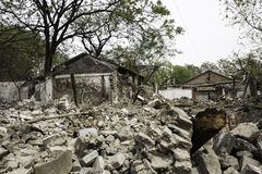 Demolished House, China. Demolished house before reconstruction. The historical building is pulled down by the movement of civilization Royalty Free Stock Photo