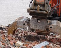 Demolished house on a construction site Royalty Free Stock Photo